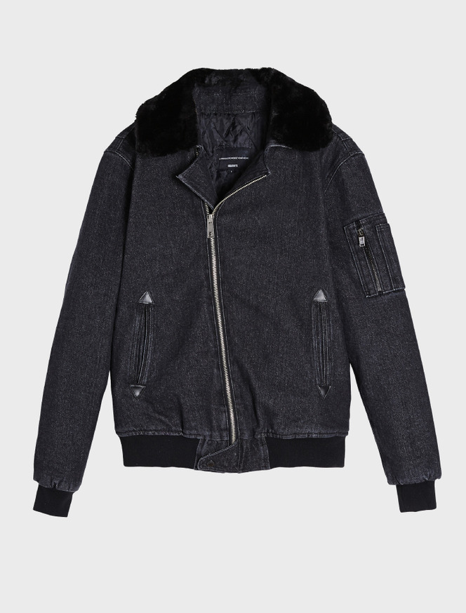 Denim MA-1 jacket / fur black