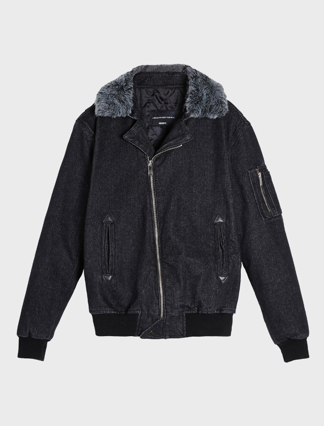 Denim MA-1 jacket / fur grey