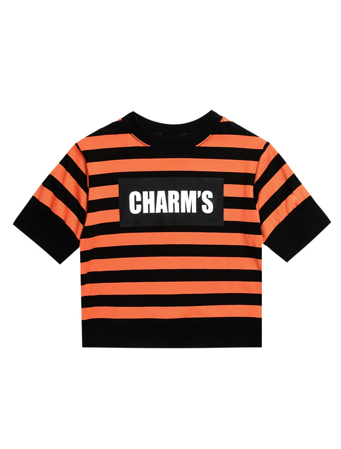 CHARM'S STRIPE LOGO CROP T_OR