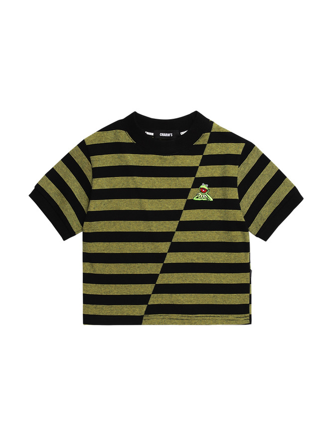 Kermit diagonal stripe crop T_YE