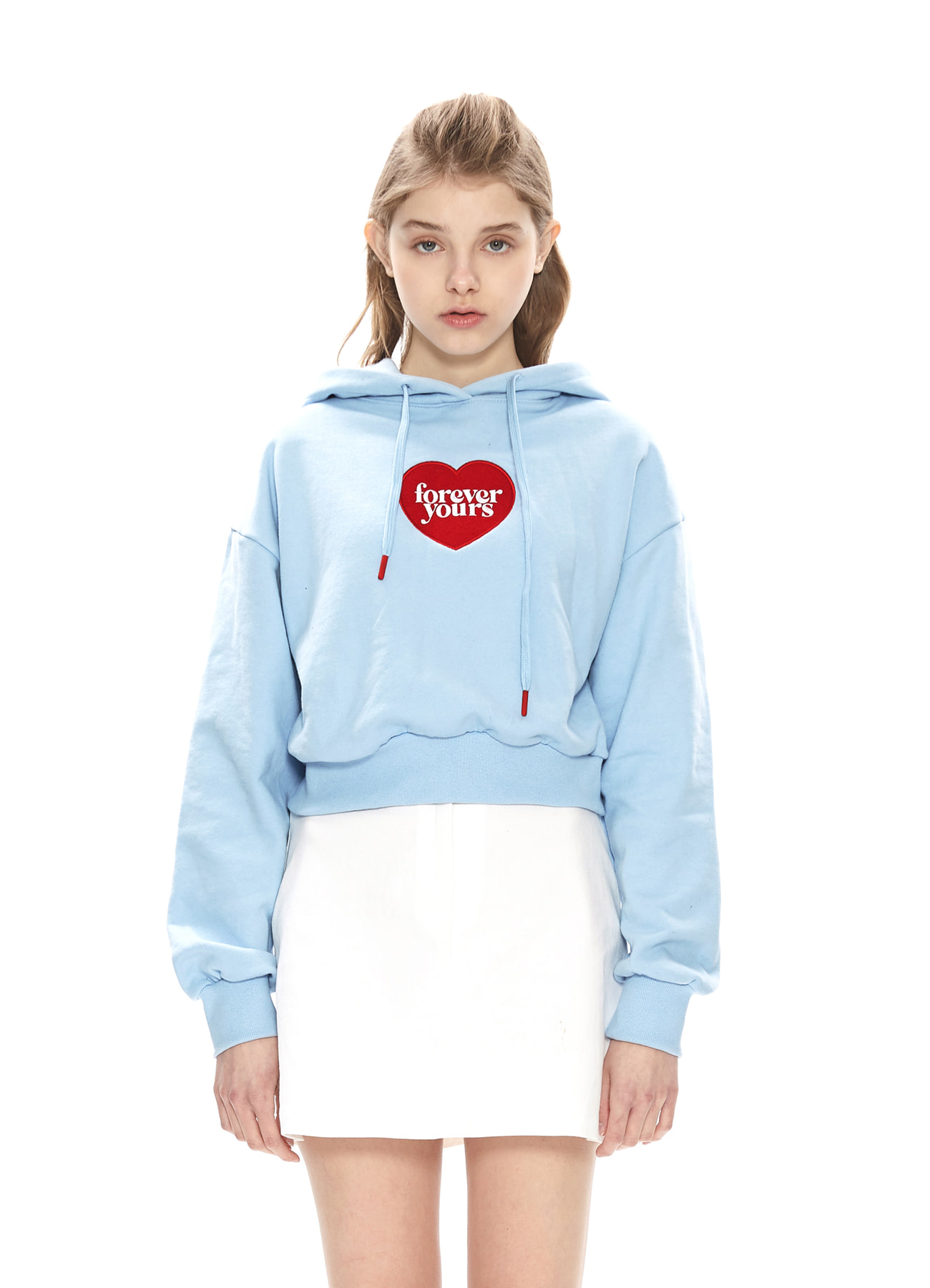 FOREVER YOURS HEART CROP HOODY_BL