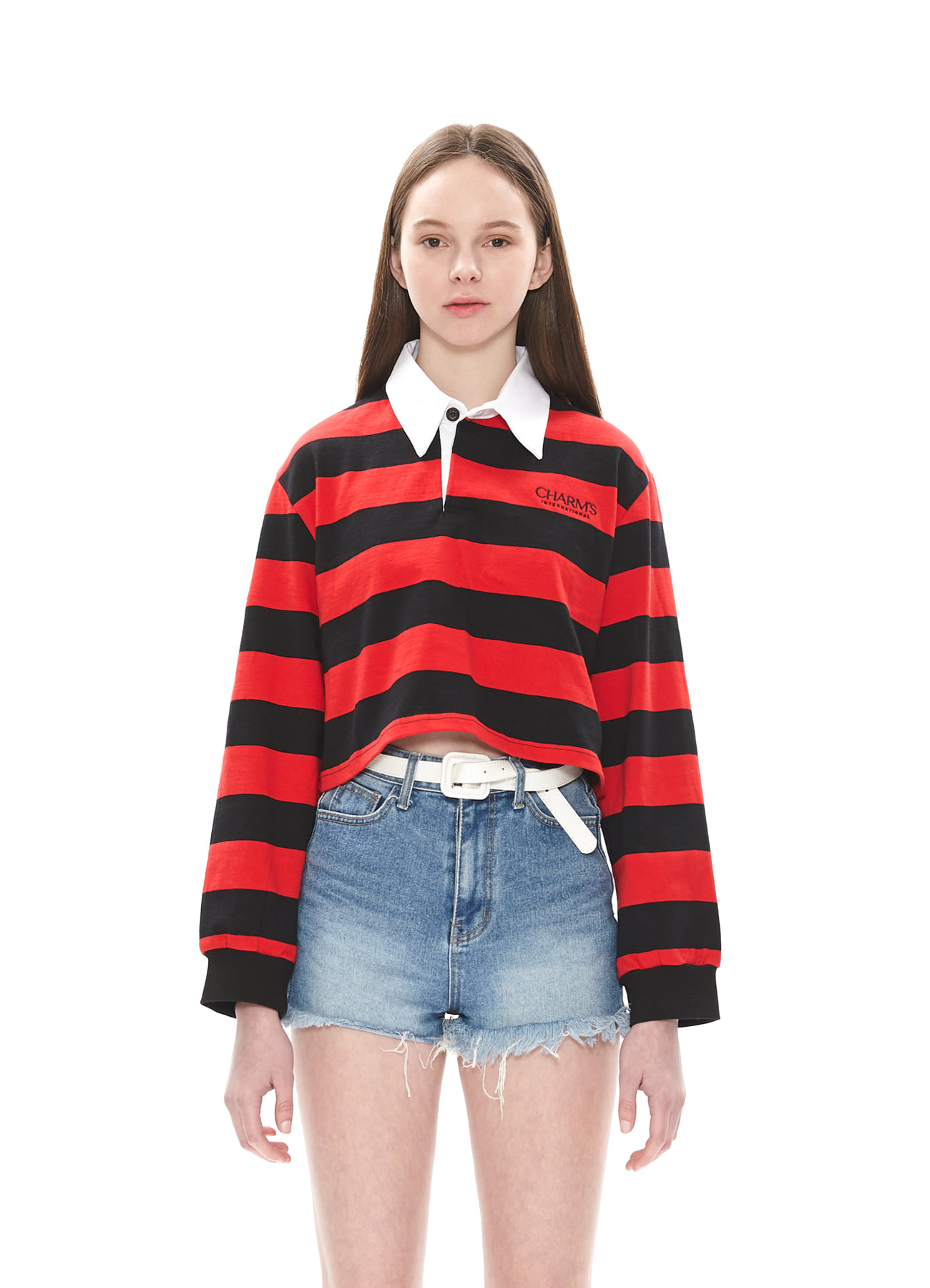 CHARMS STRIPE CROP PIQUE T_RE