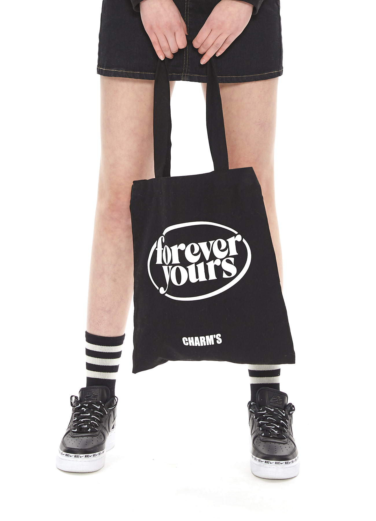 FOREVER YOURS CIRCLE LOGO ECO BAG_BK
