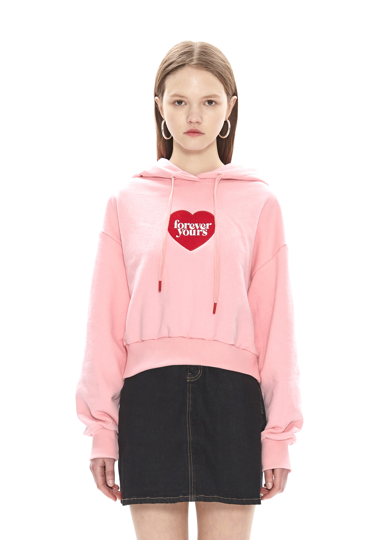 FOREVER YOURS HEART CROP HOODY_PK