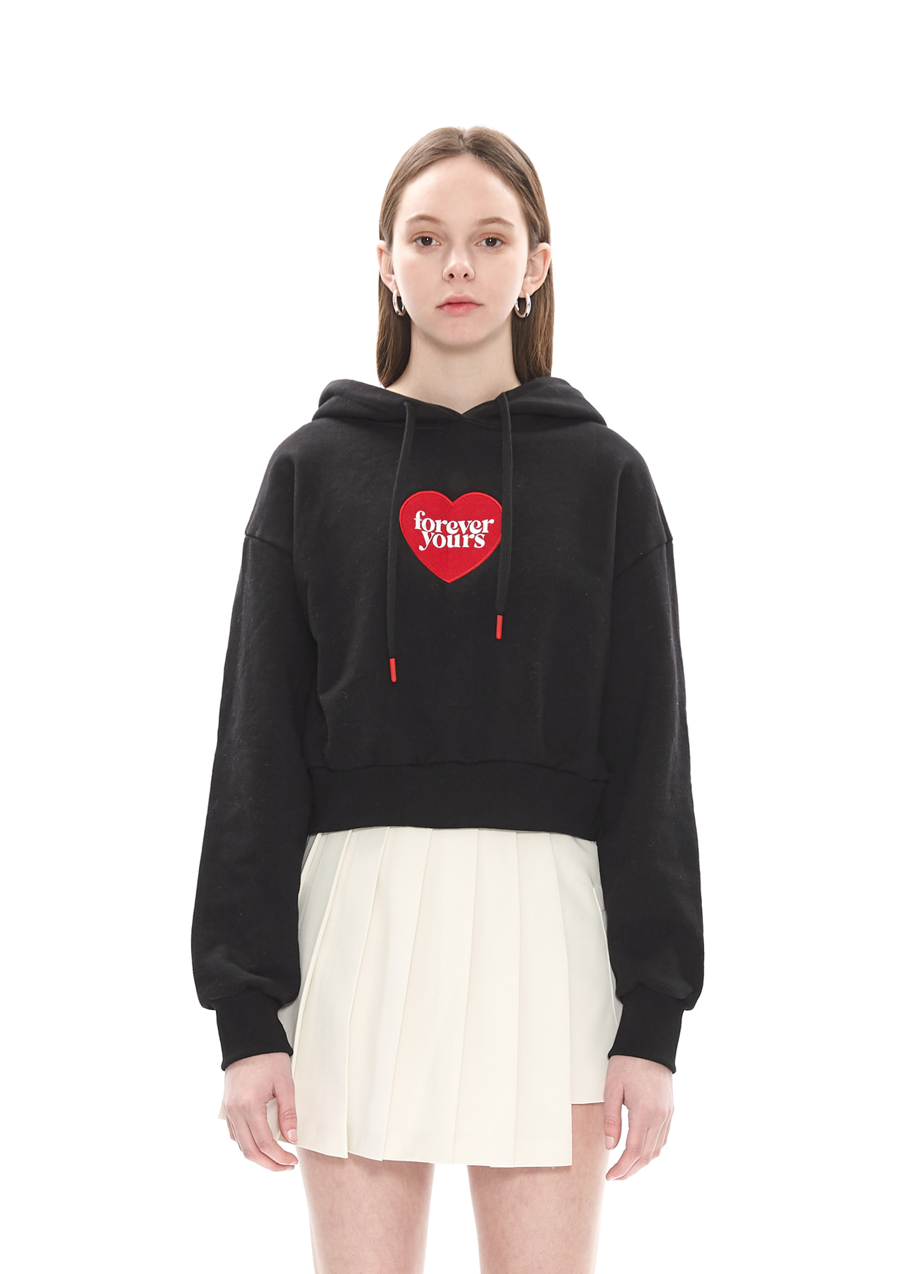 FOREVER YOURS HEART CROP HOODY_BK