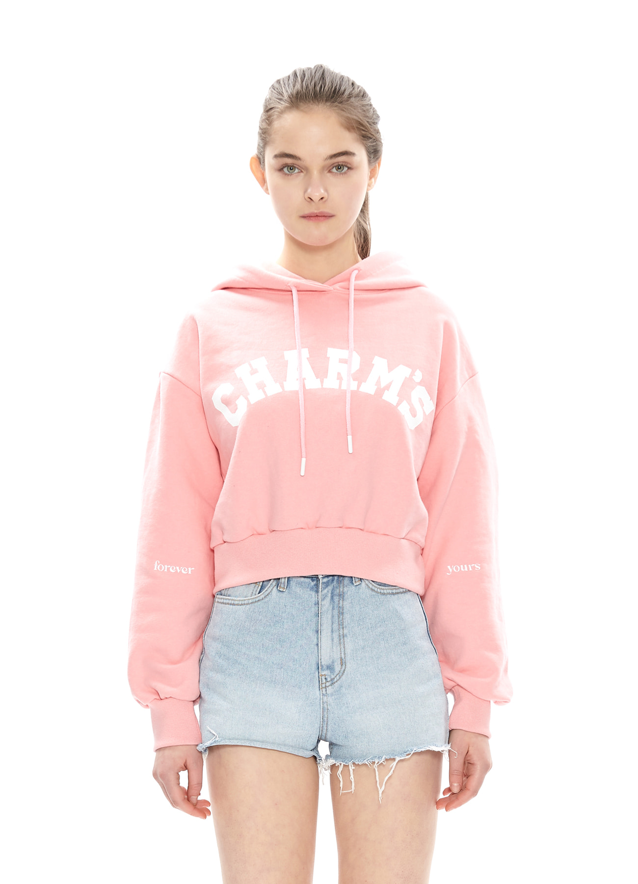 CHARMS FADED LOGO CROP HOODY_PK