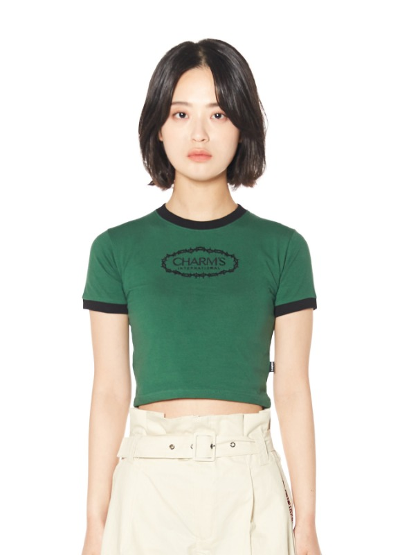 CHARMS ROSE CIRCLE LOGO CROP T_GR