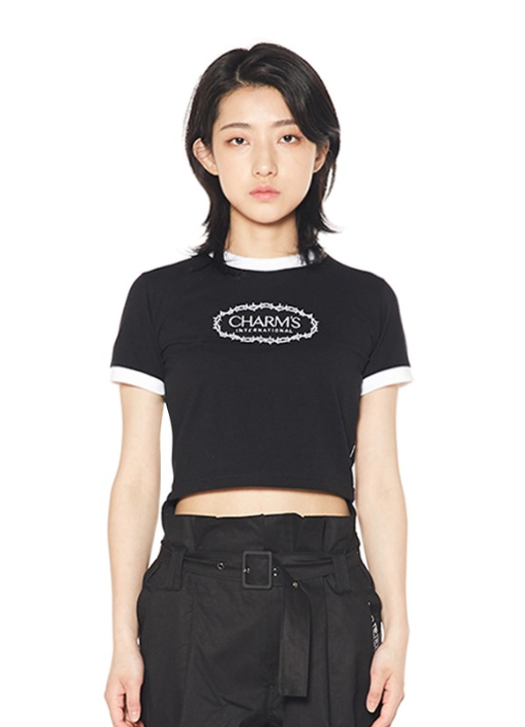 CHARMS ROSE CIRCLE LOGO CROP T_BK