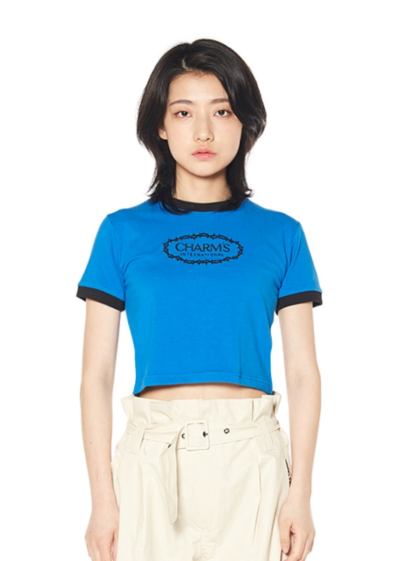 CHARMS ROSE CIRCLE LOGO CROP T_BL