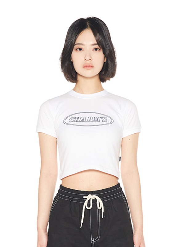 CHARMS LINE CIRCLE LOGO CROP T_WH