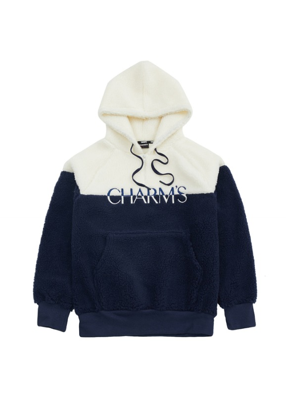 CHARMS HALF COLOR FLEECE HOODIE_NV