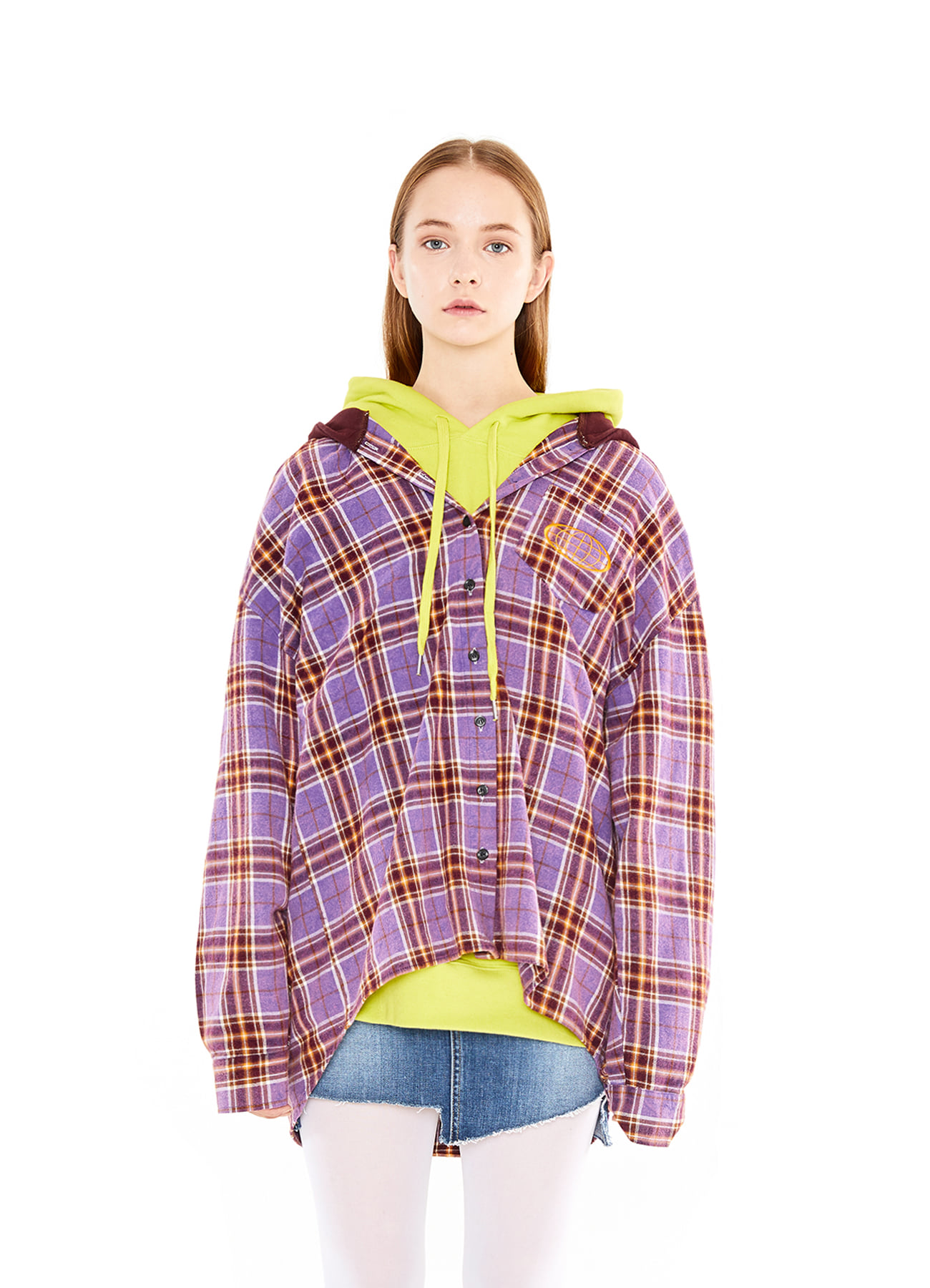 OVER SIZE CHECK HOODY_PU
