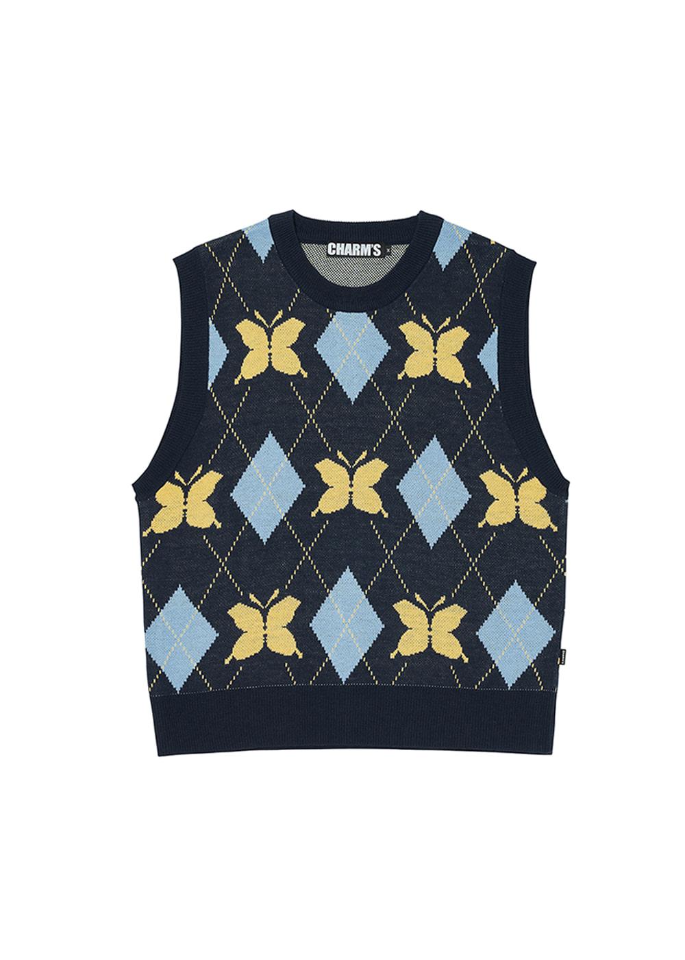 CHARMS BUTTERFLY ARGYLE KNIT VEST NV